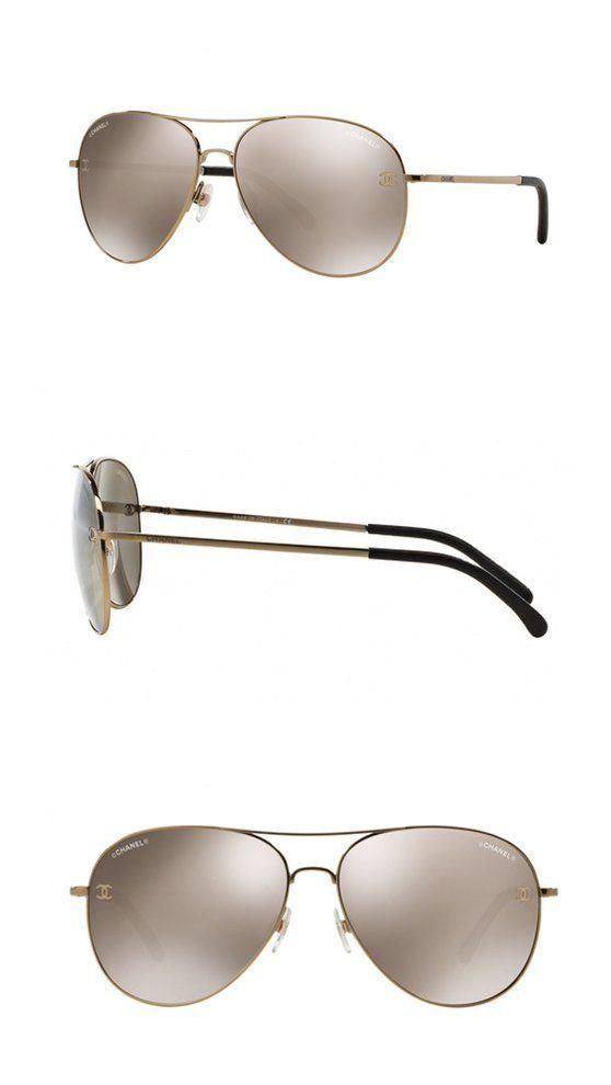Chanel 4189tq 124/s8 Chrome Polarized Aviator Sunglasses Titanium ...