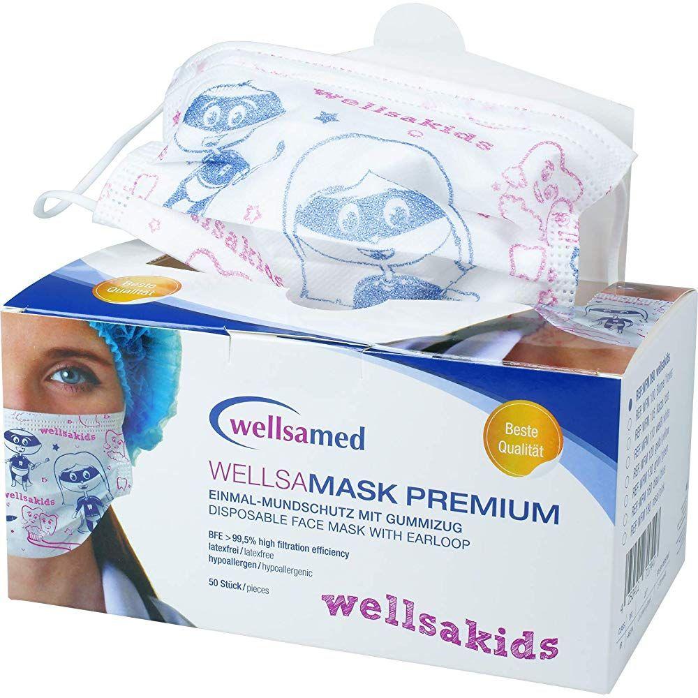 Wellsamed Wellsamask Premium Einmal Mundschutz Wellsakids Mit