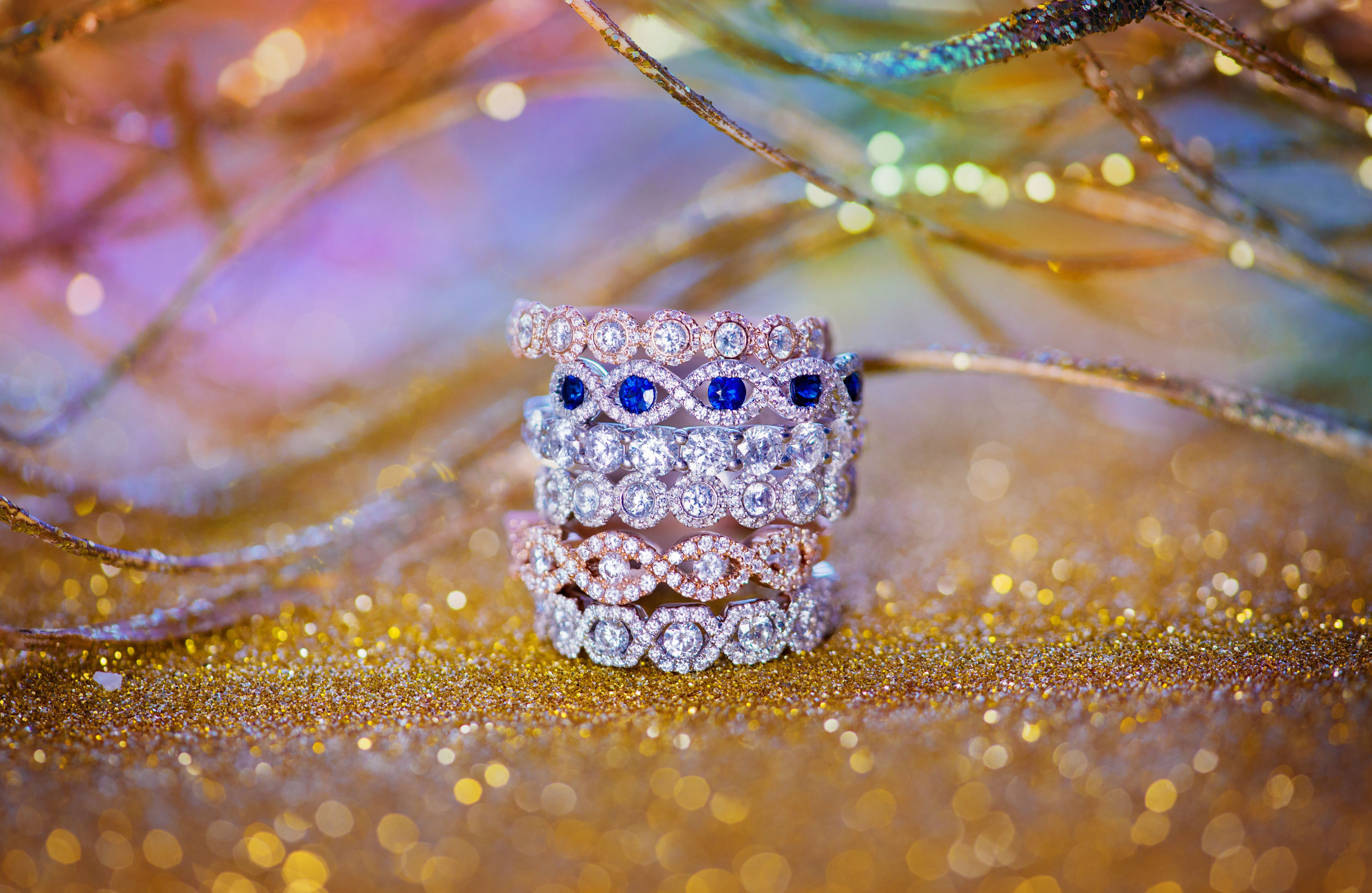 Naledi white, rose and yellow gold diamond bands. Absolutely stunning wedding bands to choose from.