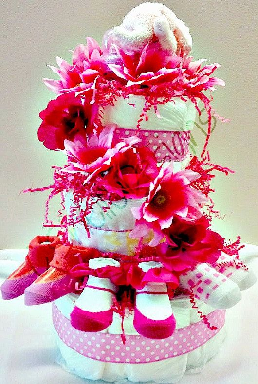 Baby Gifts  Diaper Cake Pretty in Pink by cshelledesigns on Etsy