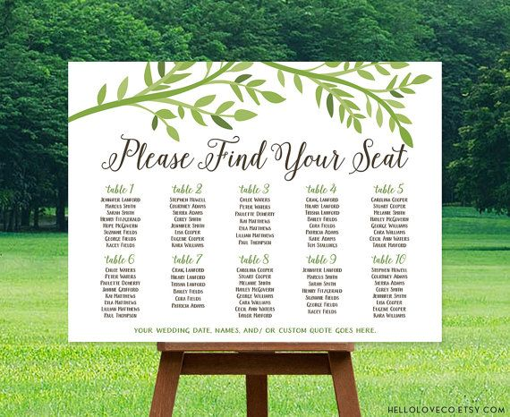 PRINTABLE Large Wedding Seating Chart | Reception Tables Sign | Leafy Natural Find Your Seat Personalized Wedding Table Assignment | DIGITAL