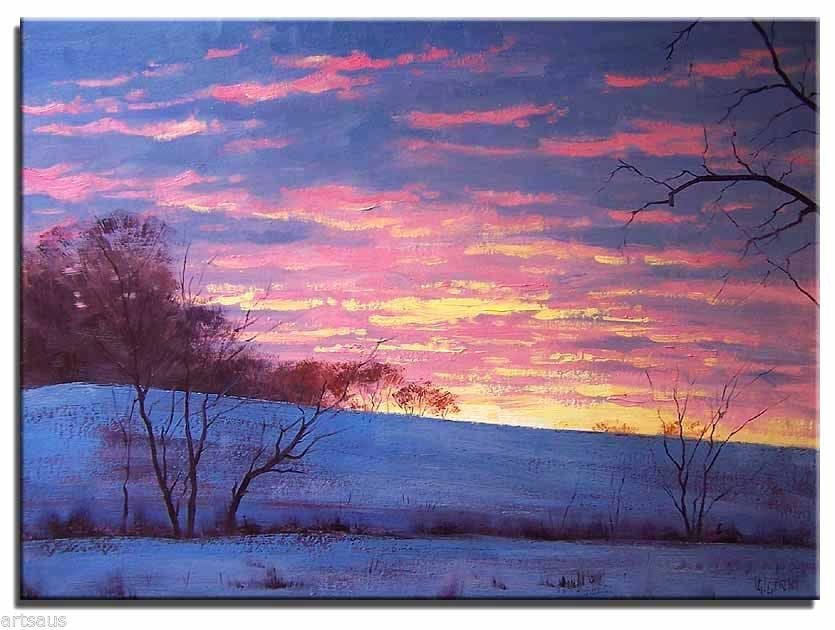 Original Oil Painting Sunrise Winter Snow Sunset 20x16 Landscape Art Canvas | eBay