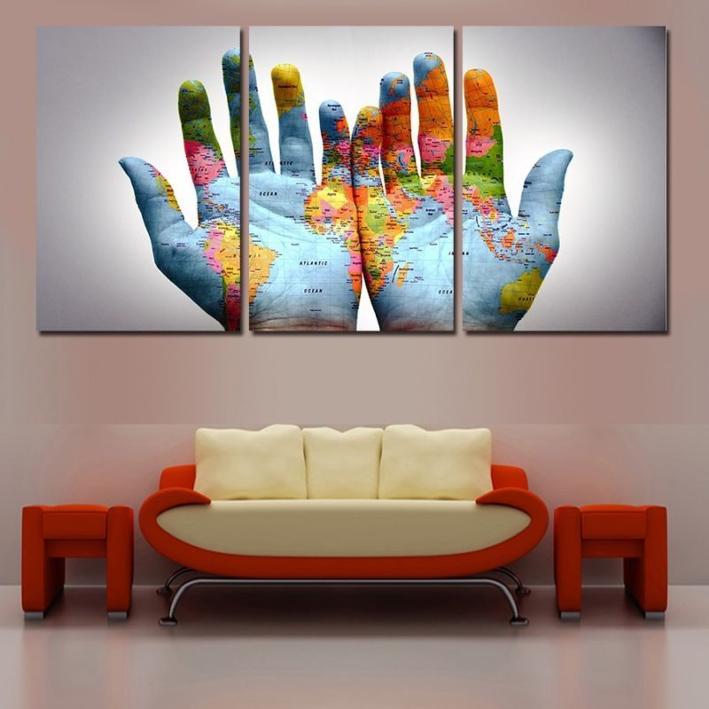 Modern Abstract Oil Painting Wall Decor Art Huge - Creative World - copy rainbow world map canvas