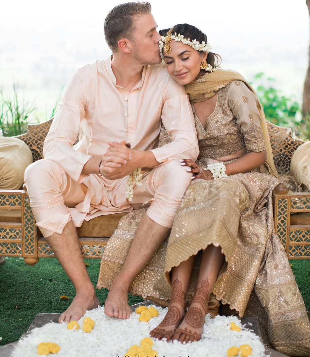 Indian Wedding Photography Ideas: Beautiful Couple At Their Haldi Ceremony
