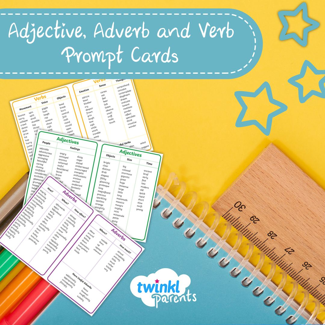 Adjective Adverb And Verb Prompt Cards In