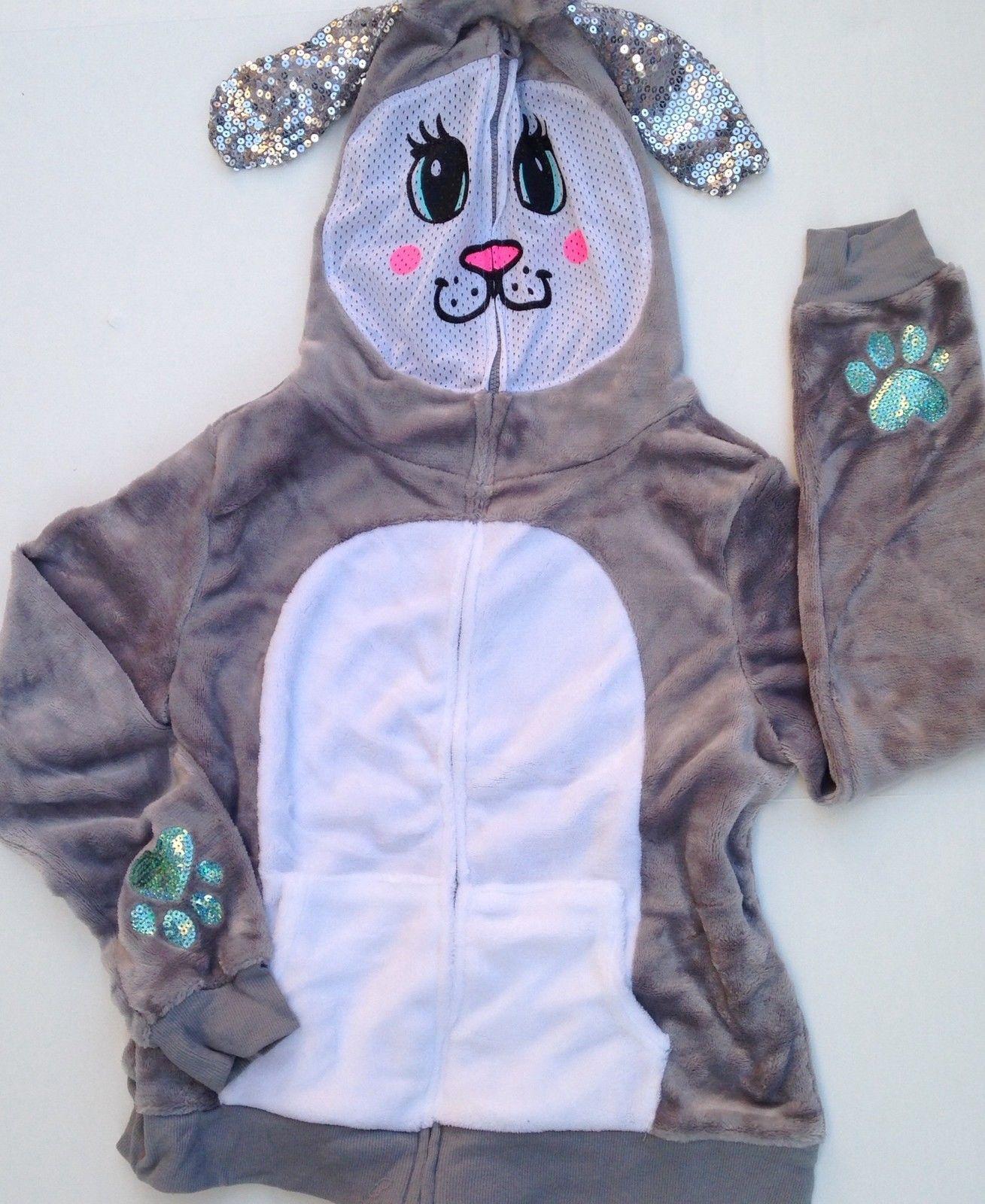 Justice girls size 18 20 NEW NWT hoodie sweatshirt bunny rabbit zip mask  sequin 48749f832