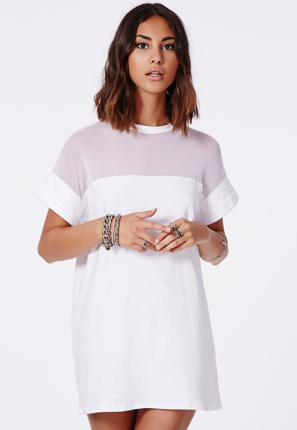 Missguided - Amara Mesh Panel T-Shirt Dress White | Style & Class ...