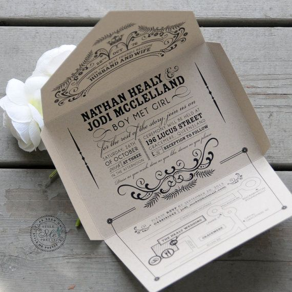 Kraft Self Mailer Wedding Invitation Eco Friendly Recycled Quirky Whimscial Seal And Send Less Waste Vintage Chic Open Me Softly