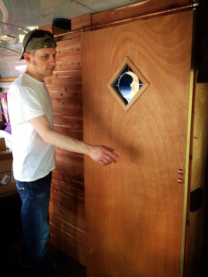 Diy Sliding Barn Style Door For Our Bus Rv Conversion Under 30 Barn Style Doors Diy Sliding Barn Door Sliding Barn Door Hardware