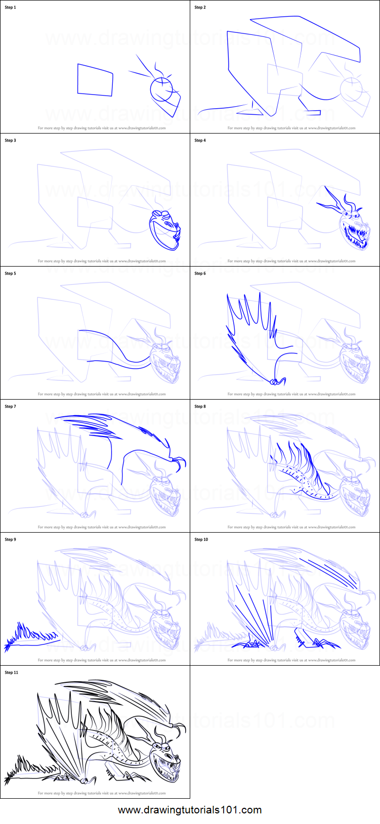 How To Draw Hookfang From How To Train Your Dragon 2 Printable