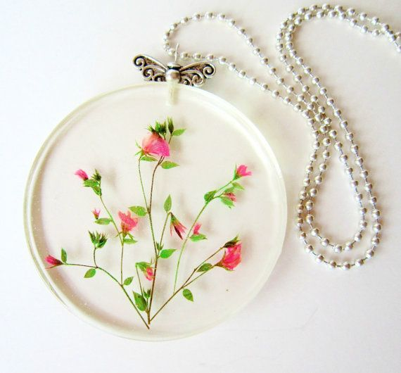 Clear Pendant Rosebush Real Tiny Dry Flowers in Crystal by IFgal, $35.00