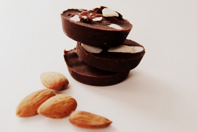 raw chocolate with almonds and apricots