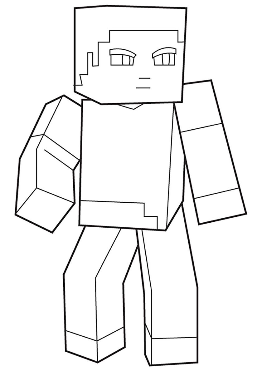 Steve Skin High Quality Free Coloring From The Category Minecraft More Printable Pictures O Coloring Pages Minecraft Coloring Pages Birthday Coloring Pages