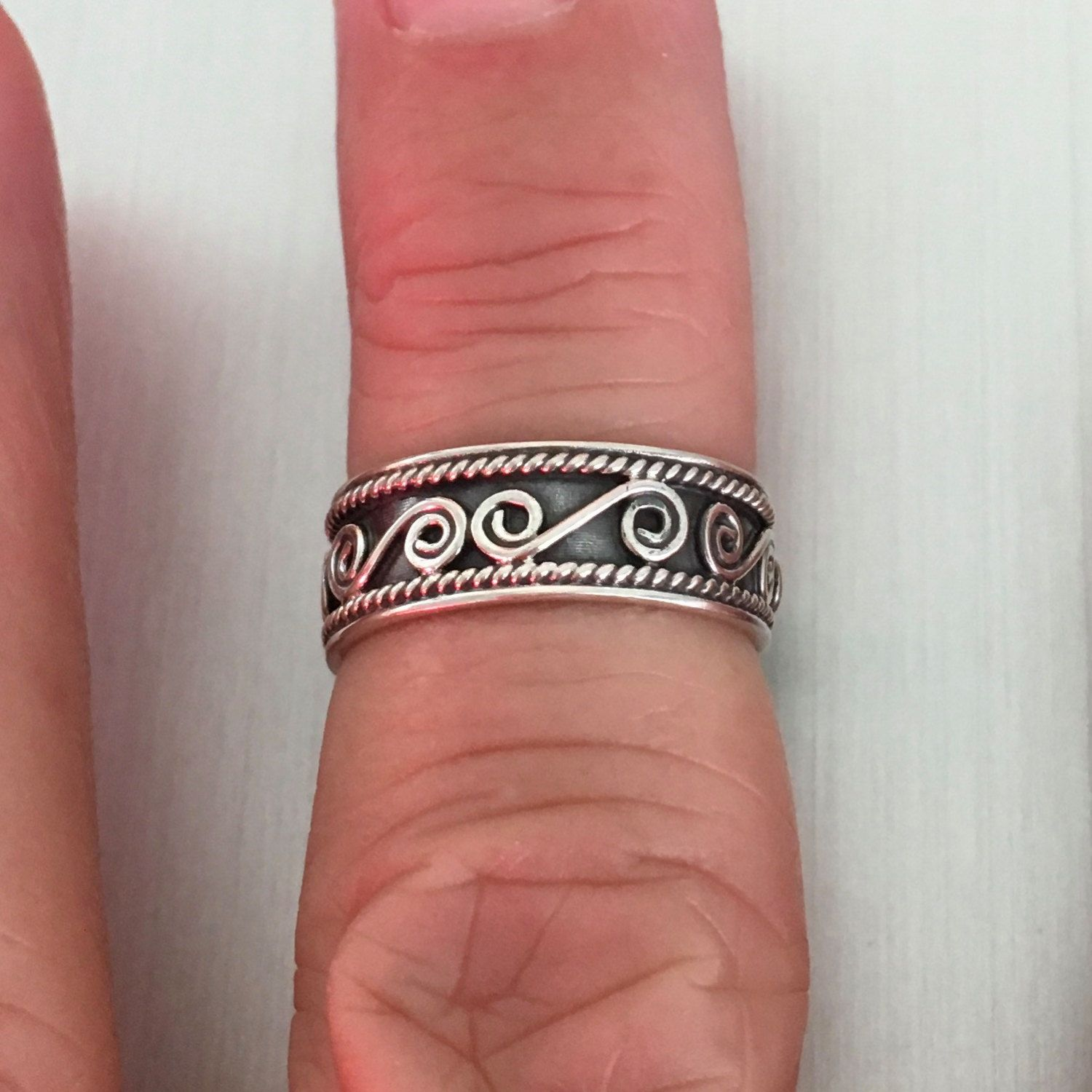Sterling Silver Bali Design Toe Ring, Pinky Ring, Midi Ring ...