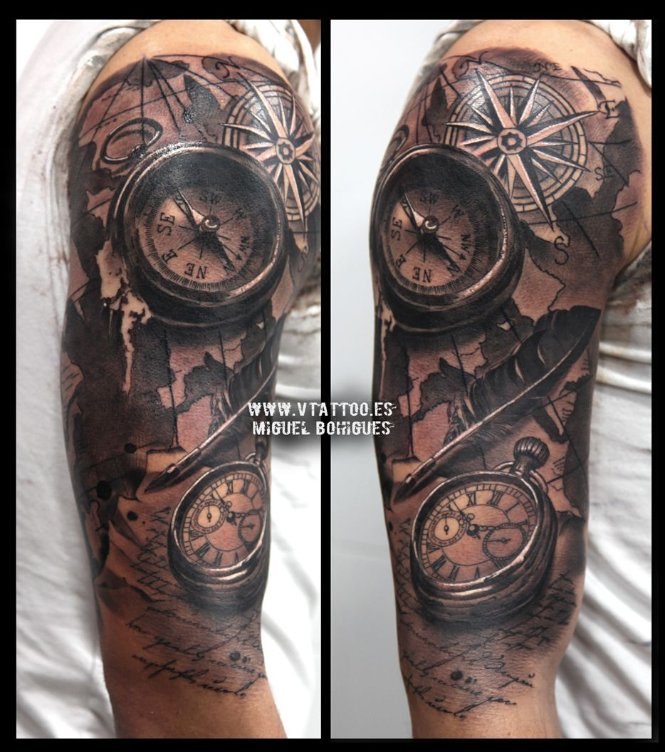 v tattoo brujula compass y reloj 2 tatoo pinterest reloj tatuajes y ideas de tatuajes. Black Bedroom Furniture Sets. Home Design Ideas