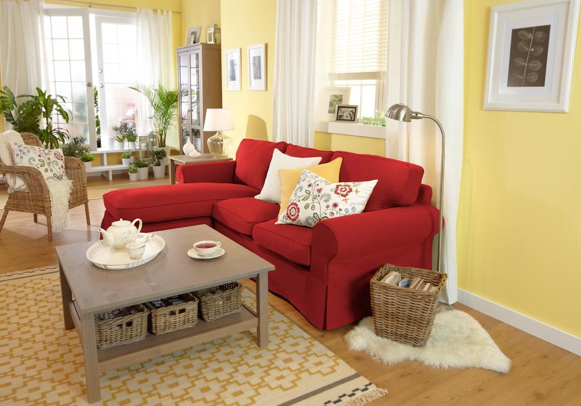 Ikea Livingroom Sofa And Table For Small Space Red Sofa