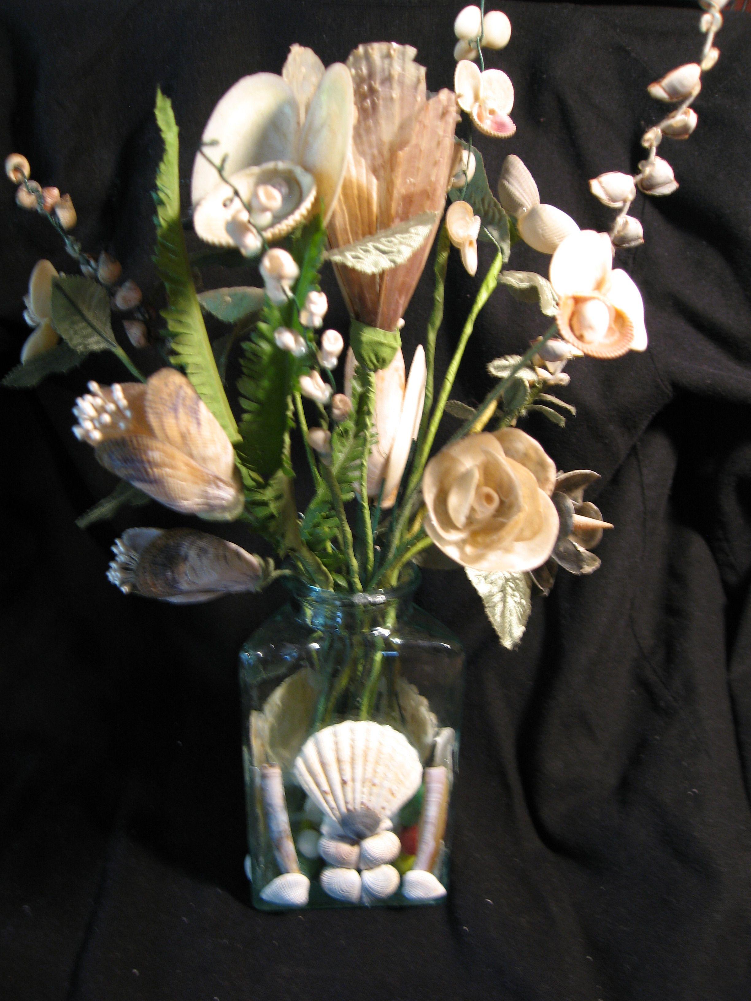 Seashell flower vase flowers faboulous pinterest shell seashell flower vase reviewsmspy
