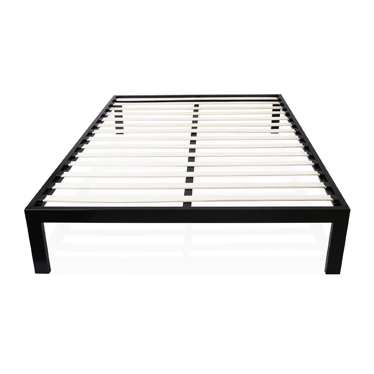Twin Modern Black Metal Platform Bed Frame With Wood Slats Full