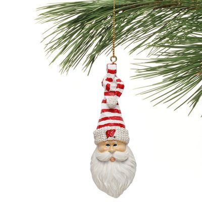 Wisconsin badgers santa cap ornament all things bucky for Badger christmas decoration
