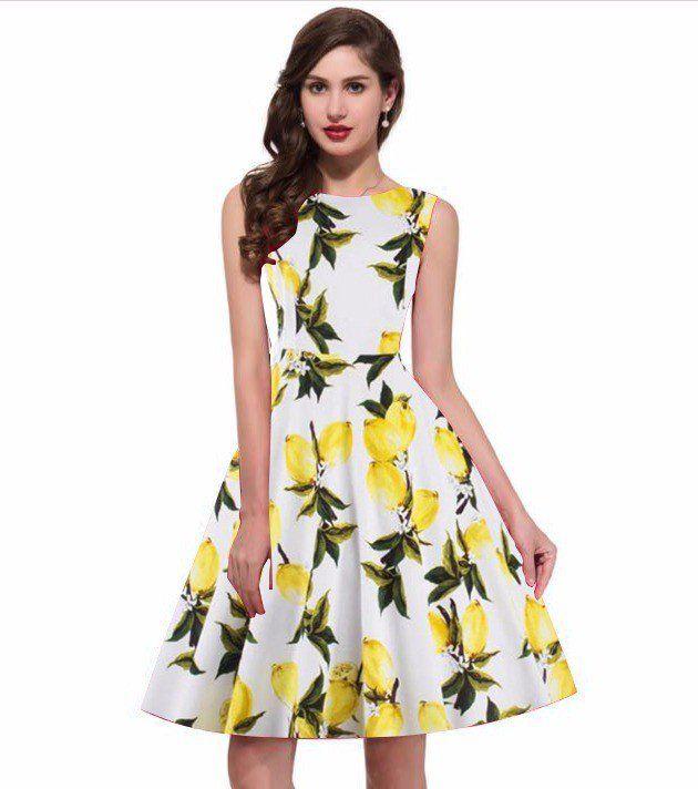1a0ef1e43 New Designer Yellow Printed Western Dress.