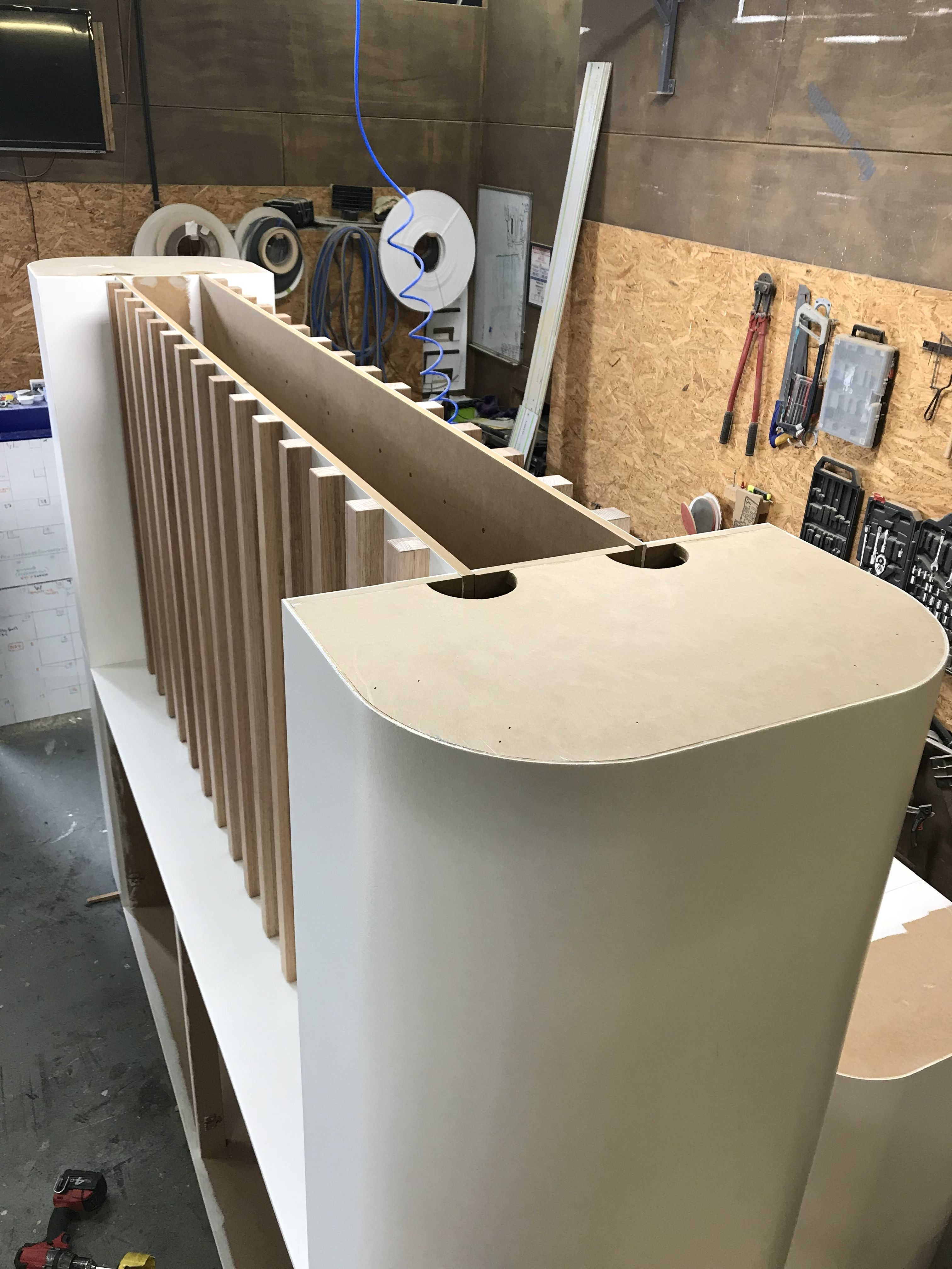 Cnc Cut Components Cladded With Bending Plywood To Create An