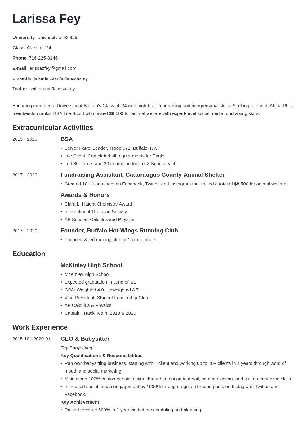 Sorority Resume Example Template Minimo Sorority Resume Resume Examples Job Resume Examples
