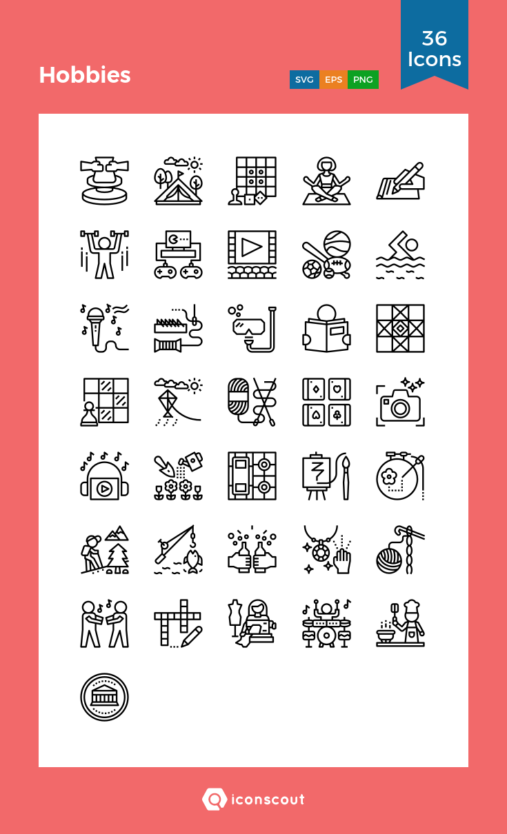 Hobbies Icon Pack 36 Line Icons Miscellaneous Web