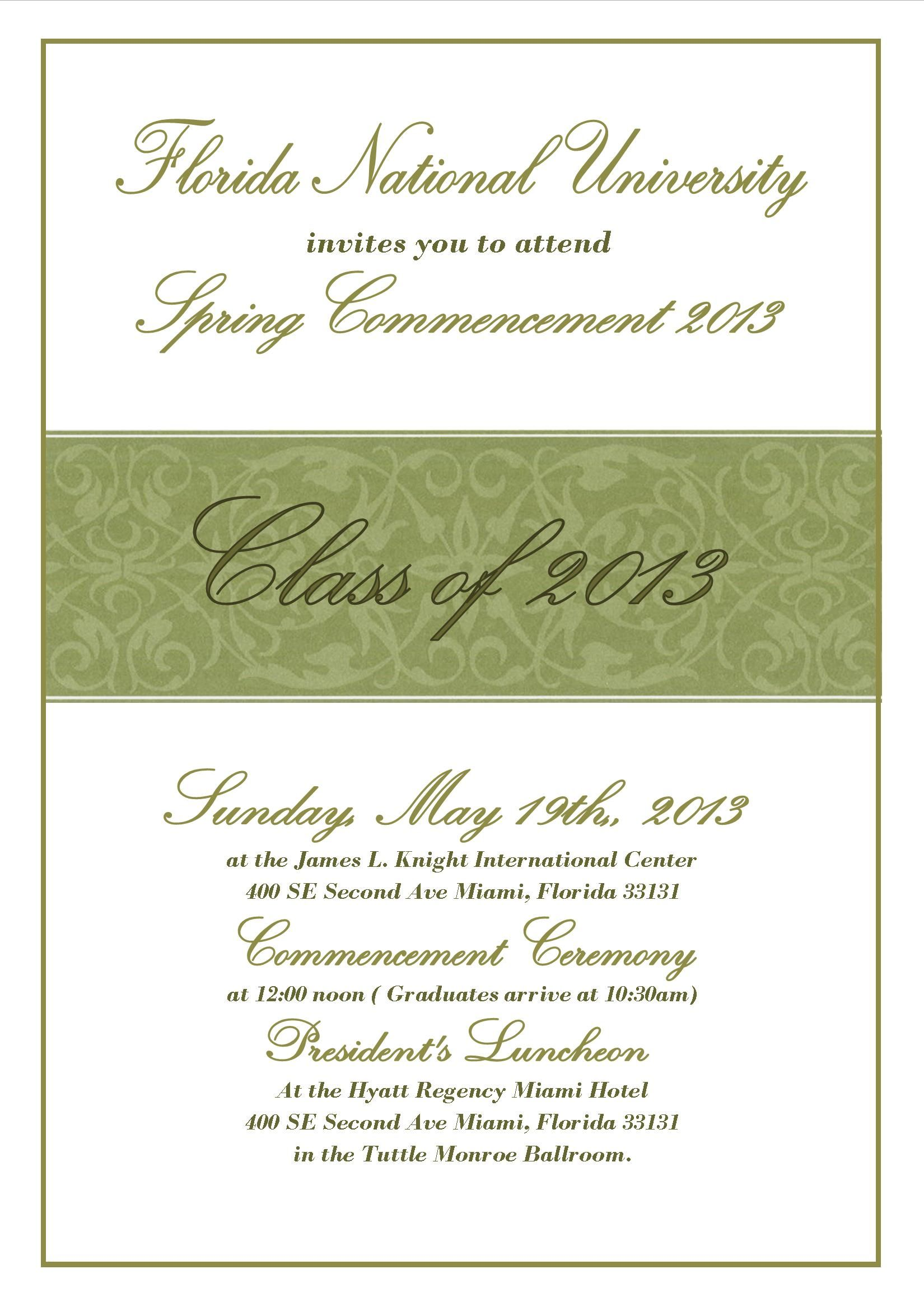 University Commencement Invitation Letter Sample  Teaching
