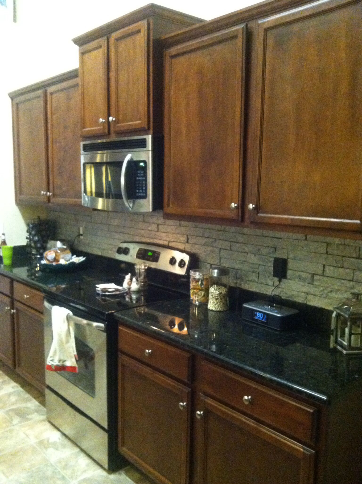 My DIY backsplash! Airstone from Lowes and Martha Stewart tintable ...