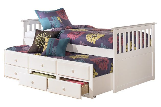 White Lulu Twin Trundle Bed By Ashley Homestore Trundle Bed With Storage Kid Beds Twin Trundle Bed