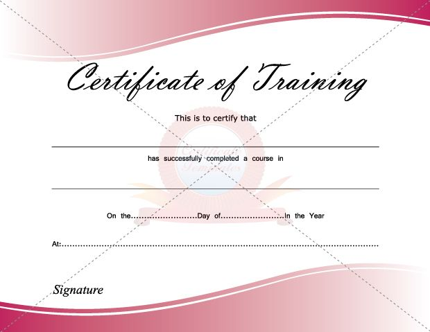 Certificate Of Training  Certificate Template    Certificate