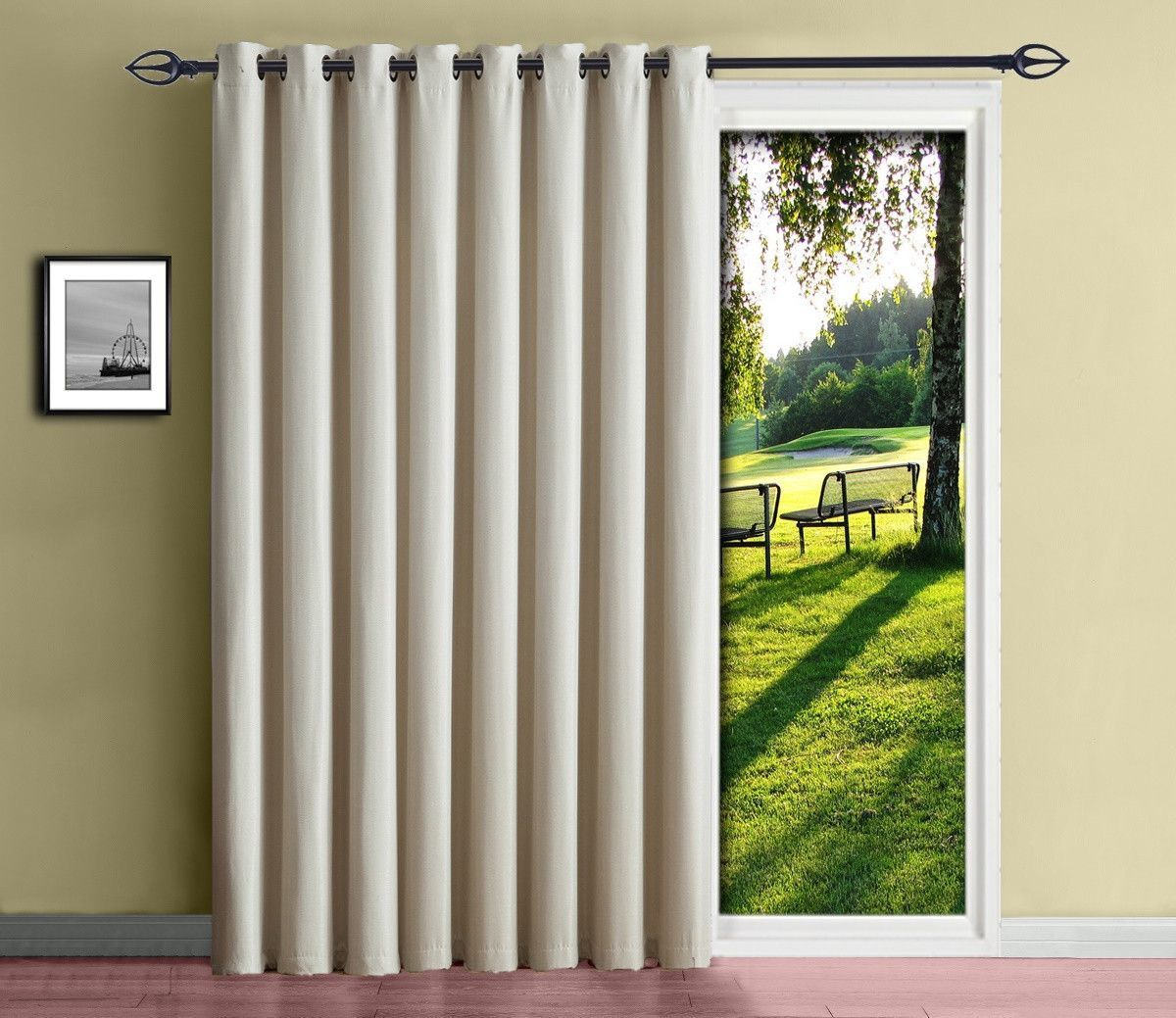 Warm Home Designs Insulated Blackout Ivory Sliding Door or Patio