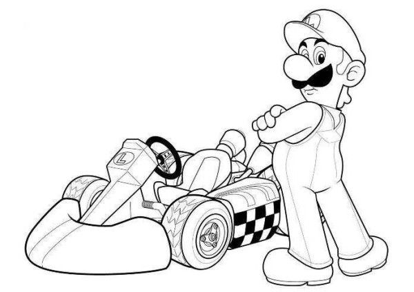 Luigi Mario Kart Racing Coloring Pages With Images Super Mario