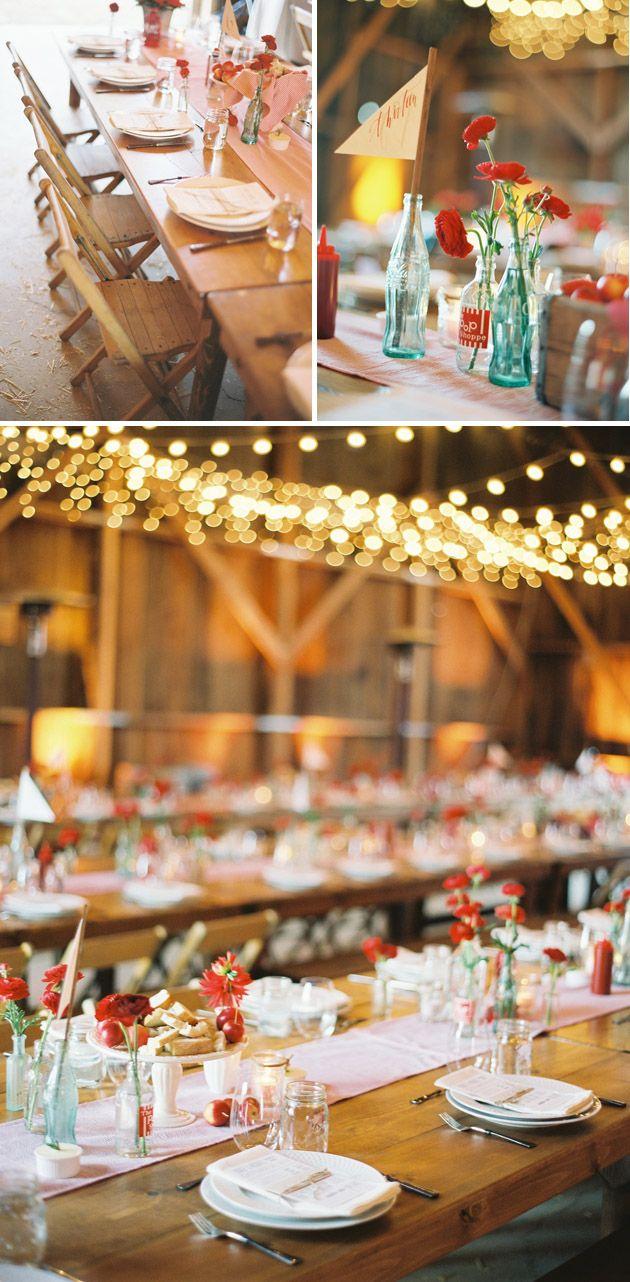 Wedding decorations red  vintage s rockabilly rustic country tablescapesreception