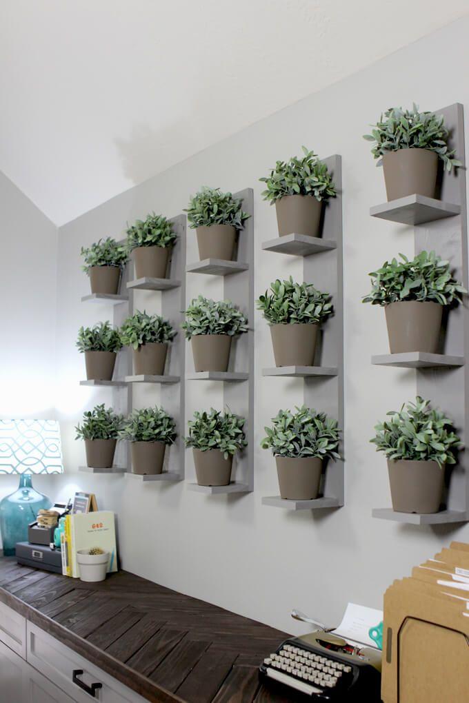 Wall mounted plant shelves diy diy ideas indoor plant wall wall mounted planters plant wall - Indoor plant wall diy ...