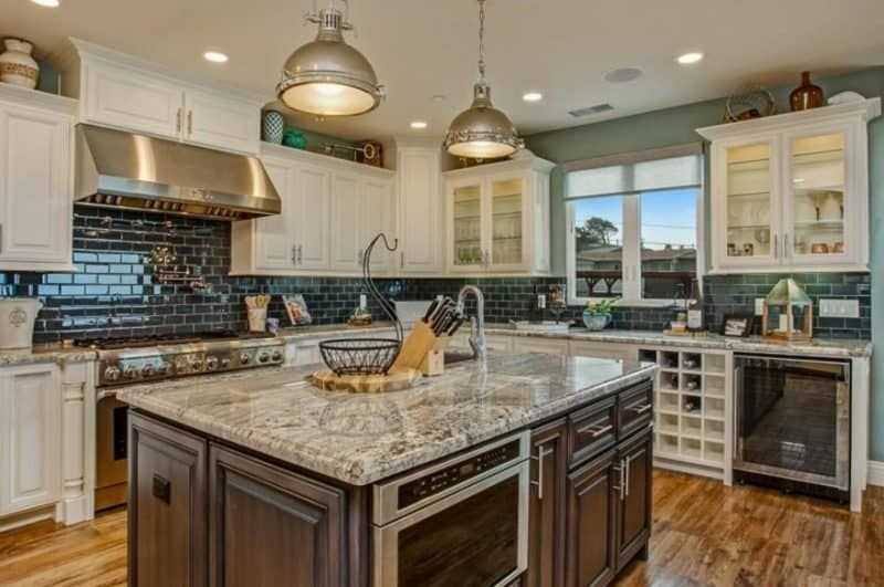 Transitional Kitchen With Wood Island