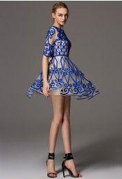 Natural Glow Blue Embossment Mesh Dress