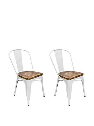Aeon Euro Home Collection Set of 2 Garvin-2 Chairs with Wood Seats, White