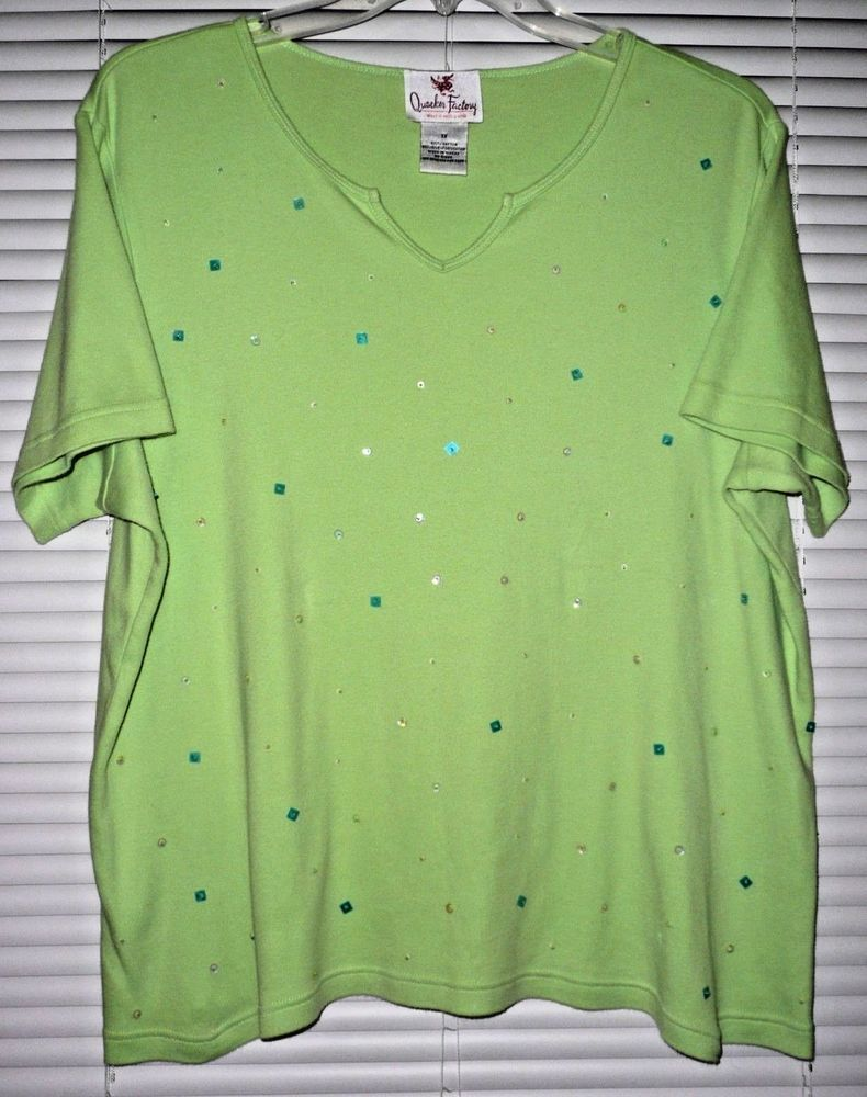 Plus Size 1X COTTON KNIT TOP with BEAD & SEQUIN DETAIL from Quacker