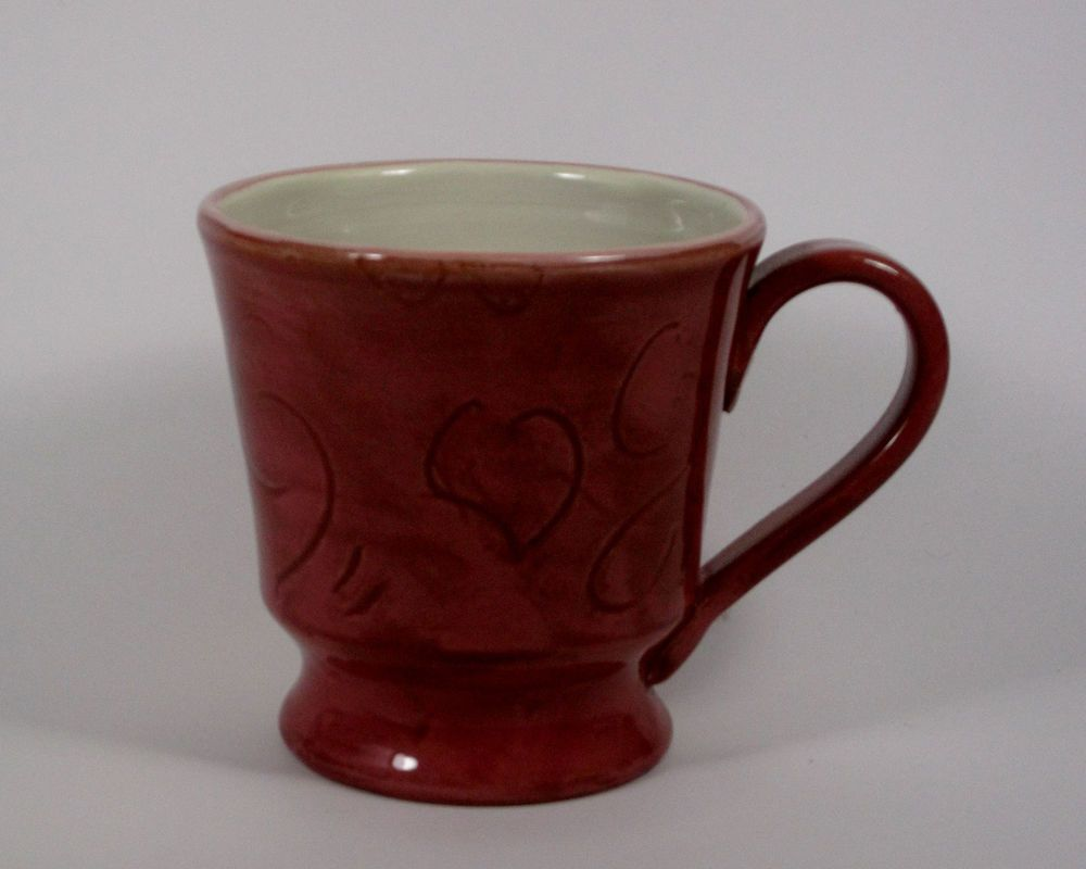 Starbucks Coffee Mug Hand Painted, Carved Steam and Heart Motif - Made in Italy #Starbucks