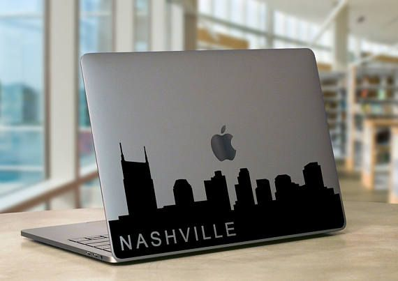 Nashville tn city skyline silhouette macbook laptop decal car decal yeti decal
