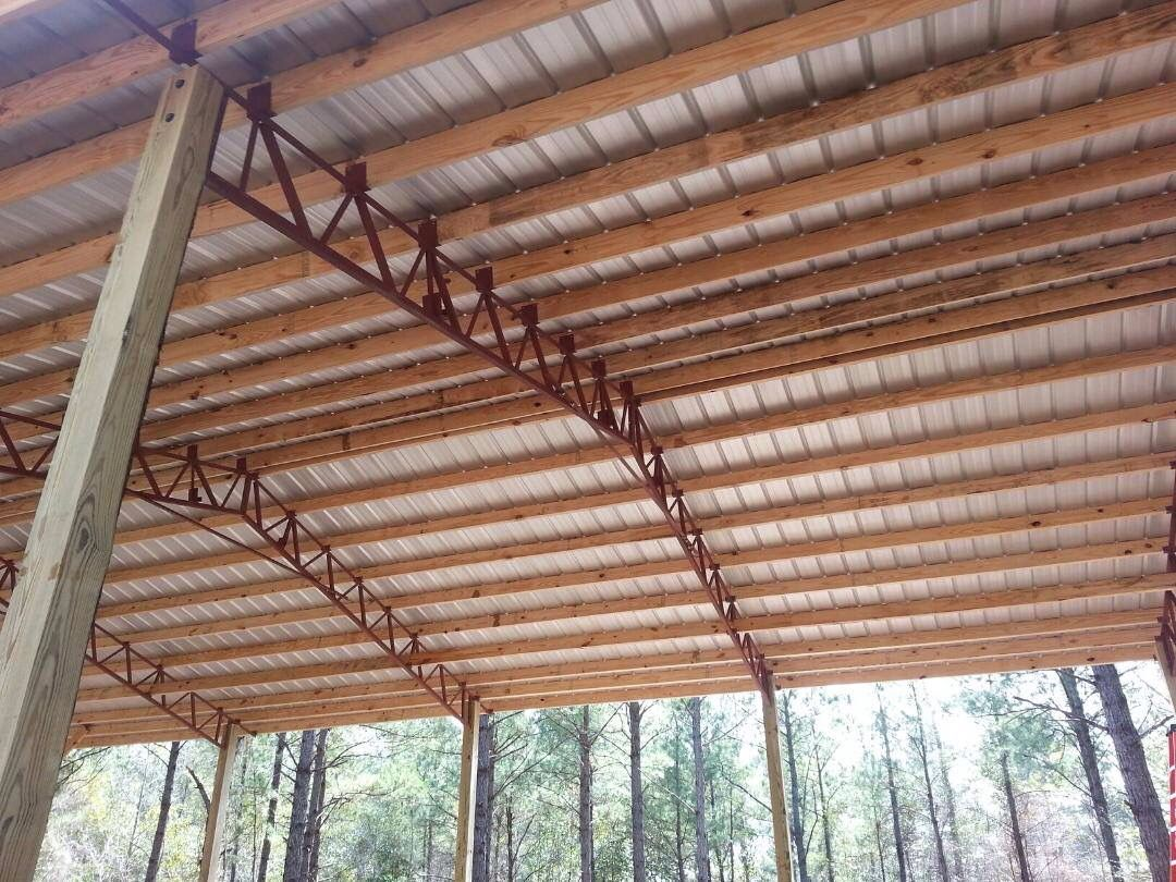 Pole barn metal truss system pole barn garages for Pole barn tin
