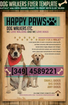 Dog walkers flyer template is very modern advertising psd for Dog walking flyer template free