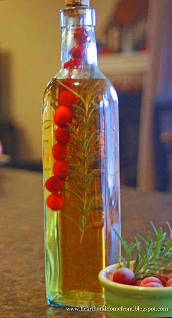 Decorative Infused Olive Oil: Kitchen Gift Idea- Rosemary And Cranberry Infused Vinegar