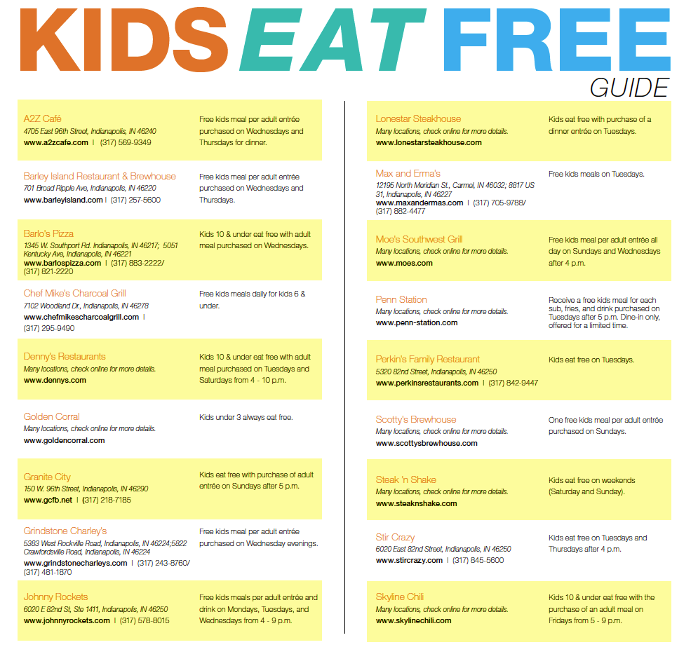 Kids Eat Free in Indy Guide   for the kids   Pinterest ...