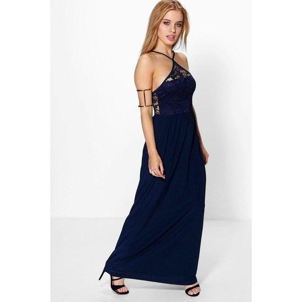 Boohoo Petite Mia Lace Detail Strappy Maxi Dress (1,735 INR ...