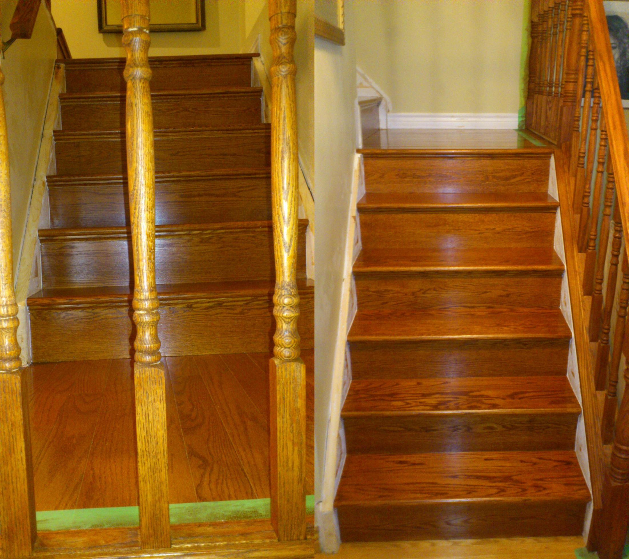 Cupping kit installed on stairs gun stock stained 4 for Hardwood floors cupping