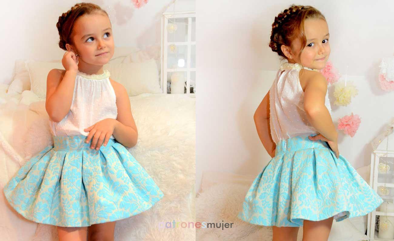 Conjunto de falda midi. Revista de patrones infantiles nº4  7346f4d869c