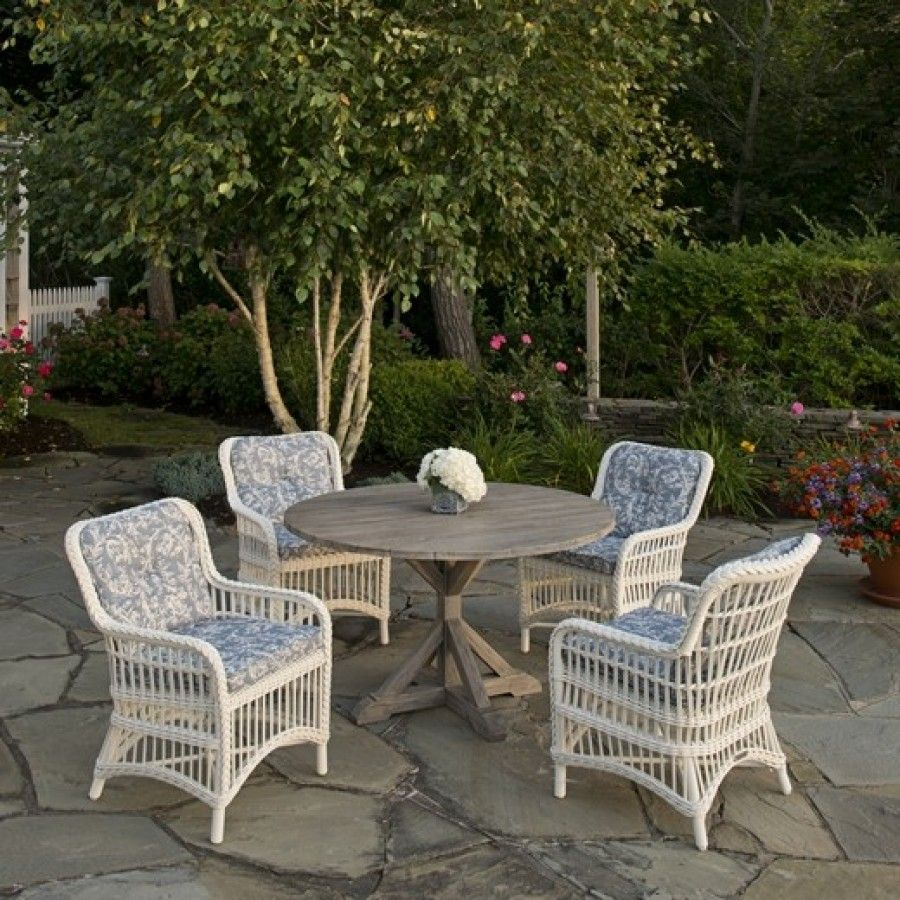 Kingsley Bate Provence Teak And Chatham Wicker 5 Piece Dining Ensemble Elegant Outdoor Furniture Teak Outdoor Outdoor Furniture