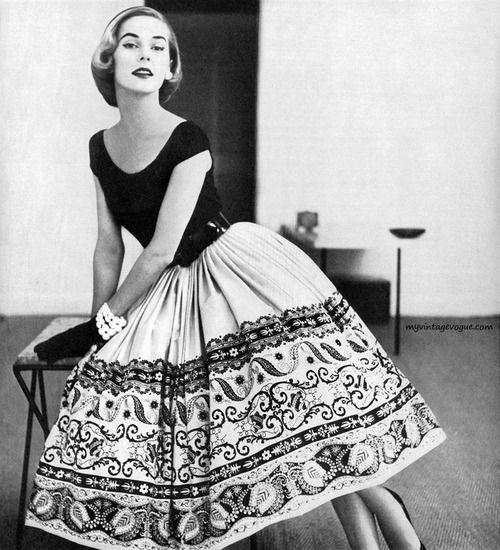 Model wearing a dress by Nelly De Grab for Peck & Peck, 1952. Photo by Tom Polumbo